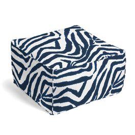 Blue Zebra Print Pouf