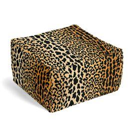 Velvet Leopard Print Pouf