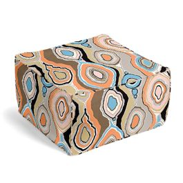 Orange & Light Pink Abstract Pouf
