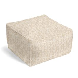White & Natural Tribal Print Pouf