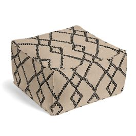 Black & Tan Tribal Trellis Pouf