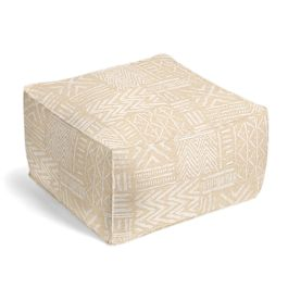 White & Flax Tribal Pouf
