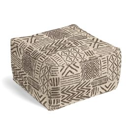 Taupe Tribal Pouf