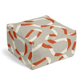 Orange Red Ribbon Pouf