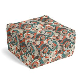 Red Orange Abstract Pouf