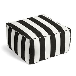 Black & White Awning Stripe Pouf