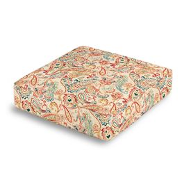 Multicolor Red Paisley Box Floor Pillow