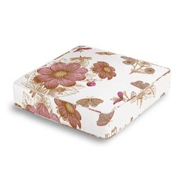 Sketched Pink Floral Box Floor Pillow