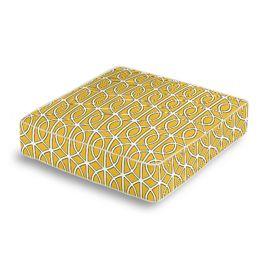 Modern Yellow Trellis Box Floor Pillow
