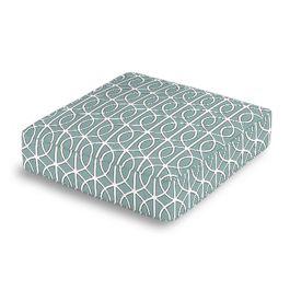 Modern Teal Trellis Box Floor Pillow