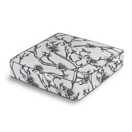 Gray Floral & Bird Box Floor Pillow