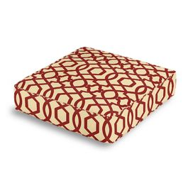 Flocked Tan & Red Trellis Box Floor Pillow