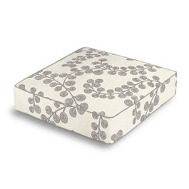 Gray Botanical Swirl Box Floor Pillow