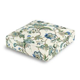 Jacobean Blue Floral Box Floor Pillow