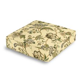 Jacobean Beige Floral Box Floor Pillow