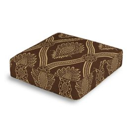 Brown Medallion Trellis Box Floor Pillow