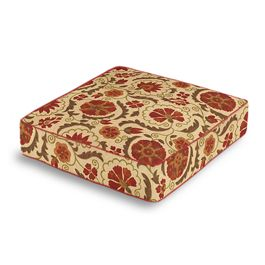 Beige & Red Suzani Box Floor Pillow
