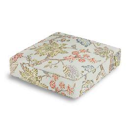 Delicate Aqua Blue Floral Box Floor Pillow