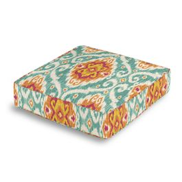 Turquoise & Red Ikat Medallion Box Floor Pillow