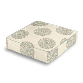 Aqua Medallion Block Print Box Floor Pillow