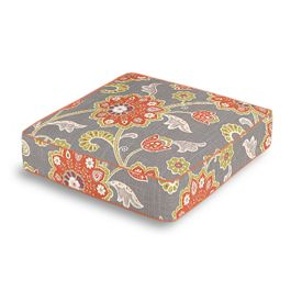 Coral & Gray Floral Box Floor Pillow
