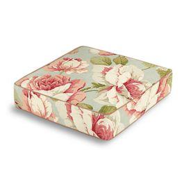 Aqua & Pink Rose Box Floor Pillow