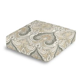 Gray & Tan Paisley Box Floor Pillow