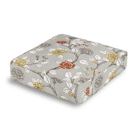 Modern Gray Floral Box Floor Pillow