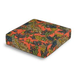 Red Chinoiserie Dragon Box Floor Pillow