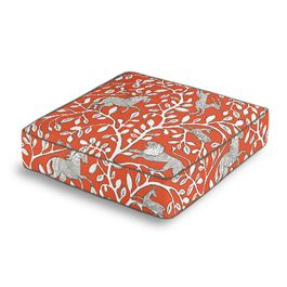 Red Animal Motif Box Floor Pillow
