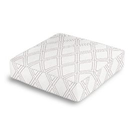 Embroidered Gray Diamond Box Floor Pillow