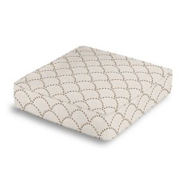 Embroidered Taupe Scallop Box Floor Pillow