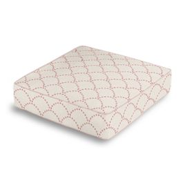 Embroidered Pink Scallop Box Floor Pillow