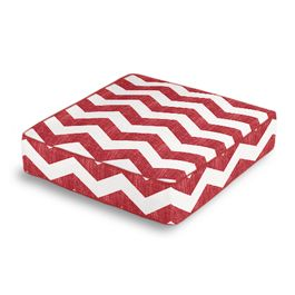 White & Red Chevron Box Floor Pillow