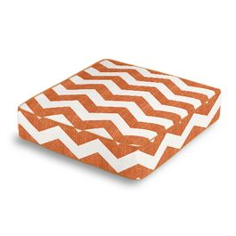 White & Orange Chevron Box Floor Pillow