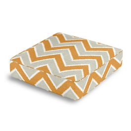 Tan & Orange Chevron  Box Floor Pillow