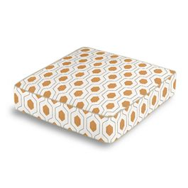 Beige & Orange Hexagon Box Floor Pillow