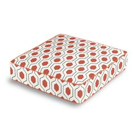 Gray & Red Hexagon Box Floor Pillow