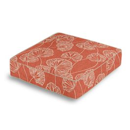 Coral Red Fan Leaf Box Floor Pillow