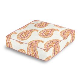Orange & Pink Paisley Box Floor Pillow