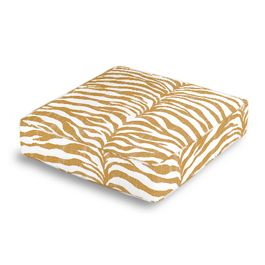 Gold Zebra Print Box Floor Pillow