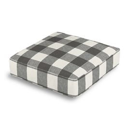 Gray & White Buffalo Check Box Floor Pillow