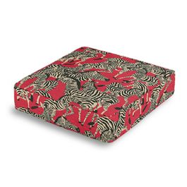 Black, White & Red Zebra Box Floor Pillow