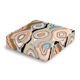 Orange & Light Pink Abstract Box Floor Pillow