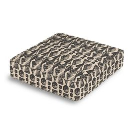 Tan & Black Tribal Print Box Floor Pillow