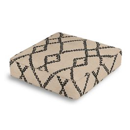 Black & Tan Tribal Trellis Box Floor Pillow