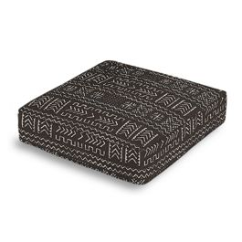 Black Woven Tribal Box Floor Pillow