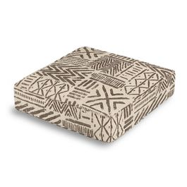 Taupe Tribal Box Floor Pillow