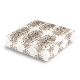 White & Tan Spiky Oval Box Floor Pillow