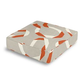 Orange Red Ribbon Box Floor Pillow